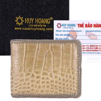 HL2715 - Bóp nam Huy Hoàng da cá sấu đan viền gai bụng màu rêu