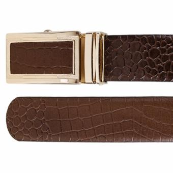 Bộ ví và thắt lưng nam da bò thật LAKA nâu cá sấu + Tặng 01 thắt lưng (Nâu vân cá sấu) LAKA trị giá 300.000đ