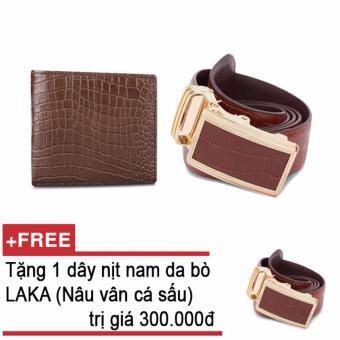 Mua Bộ ví và thắt lưng nam da bò thật LAKA nâu cá sấu + Tặng 01 thắt lưng (Nâu vân cá sấu) LAKA trị giá 300.000đ giá tốt nhất