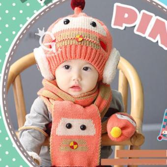 Combo mũ và khăn len ấm áp thời trang cho bé yêu hình Robot KOREA F89 (Hồng)