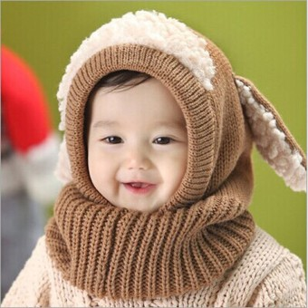 Winter Beanie Baby Kids Boy Girl Warm Hat Hooded Scarf Earflap Knitted Wool Cap Khaki - intl