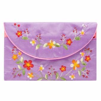 Ví cầm tay nắp thư Hoian Gifts vải lụa thêu hoa (Tím hoa cà) HA-51T
