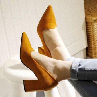 Giày bít gót vuông hàng cao cấp CG885 (Vàng)
