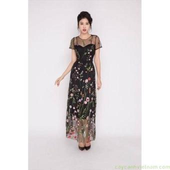 Đầm maxi lưới hoa màu đen cao cấp | Đầm maxi đẹp