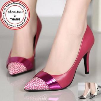 Giày cao gót phối da beo - LN905