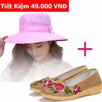 Bộ Giày Búp Bê Mũi Tròn Siêu Thoáng Gnb01 (Be) + Mũ Tiểu Thư Dạo Phố Lv1219 (Hồng)