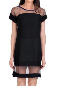 Linemart Mesh Splicing Women Chiffon Dress Mini Casual ( Black ) - intl