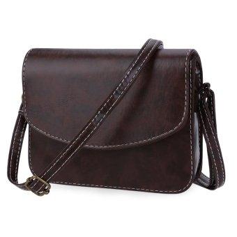 Retro Mini Shoulder Bag Messenger Packet Satchel Handbags Horizontal(Deep Brown) - intl
