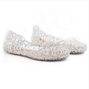 Multicolors Summer Women Ventilate Crystal Jelly Hollow Out Sandals Flat Shoes - Intl