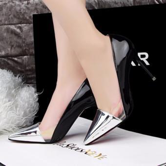 Giày cao gót thời trang phối mê ca ( ĐEN PHỐI BẠC )