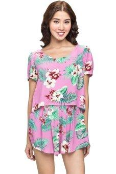 Áo crop top họa tiết floral Love