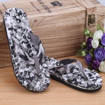 Men Summer Camouflage Flip Flops Shoes Sandals Slipper indoor & outdoor Flip-flops Black - intl