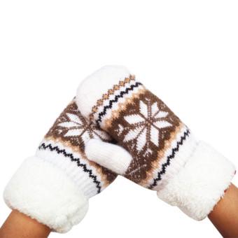 Women's Warm Winter Snow Gloves Mittens White