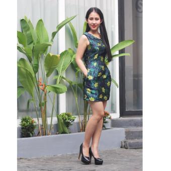 Đầm họa tiết hoa xanh vàng Cocoxi 17DT62HVX