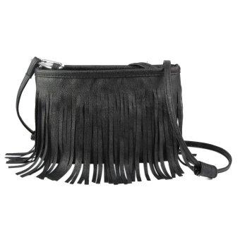 Bluelans Women Tassels Faux Leather Shoulder Bag Messenger Satchel Black (Intl)