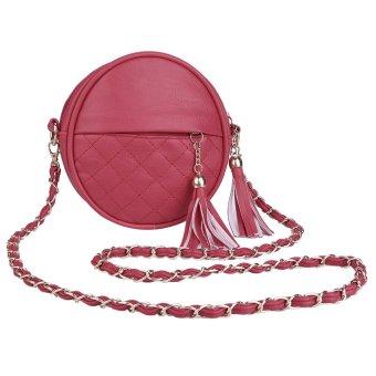 Round Shoulder Bag Women Plaid Tassel Detachable Chain Belt Strap (Red) - intl