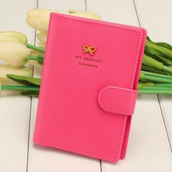 Linemart Women Fashion Synthetic Leather Button Candy Color Folded Travel Journey Passport ID Card Holder ( Rose Red ) - intl
