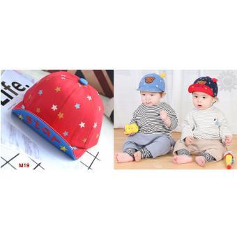 Nón (mũ) lưỡi trai Star cho bé trai và gái từ 1-4 tuổi nền đỏ (M19)