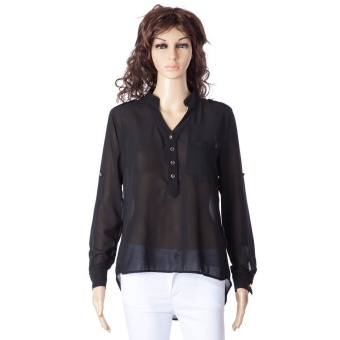 Simple Style V-Neck Chiffon Solid Color Long Sleeve Women's Blouse - intl