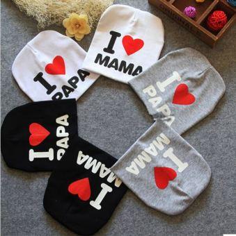 Bộ 02 mũ cotton I love Mama (Xám)