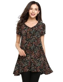 Cyber Women V-Neck Short Sleeve Print Casual Irregular Swing Tunic Top ( Black ) - intl