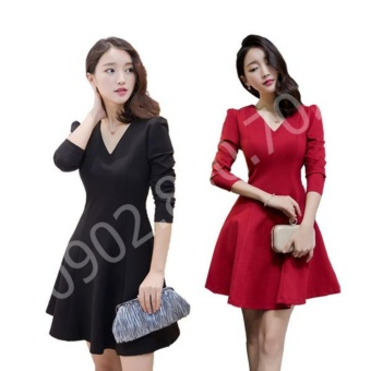 Đầm xòe công sở tay dài đẹp thời trang cao cấp - T0230B (Đỏ)