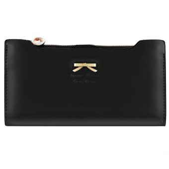 Cyber Korean Version of sweet and cute bow Multi- Card Handbag Ms. Long Wallet ( Yellow ) - intl