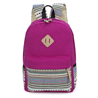 Ethnic Style Floral Embroidery Striped Canvas Portable Backpack for Girls - intl