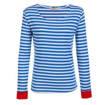 Cyber Zeagoo Women Fashion Casual Long Sleeve Slim Striped Top T-Shirt (Blue&White) - Intl