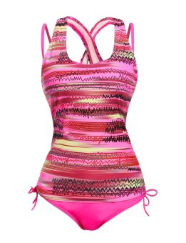 Sunweb Women's Print Tankini With Padded Solid Bikini 3 Pieces Set Bathing Suit Swimwear ( Purple ) - intl