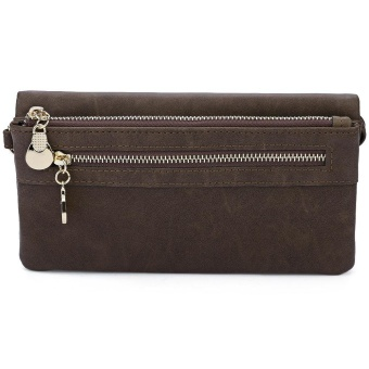 Solid Color Pattern Zipper Design Dull Polish Horizontal Clutch Waist Wallet for Lady - intl