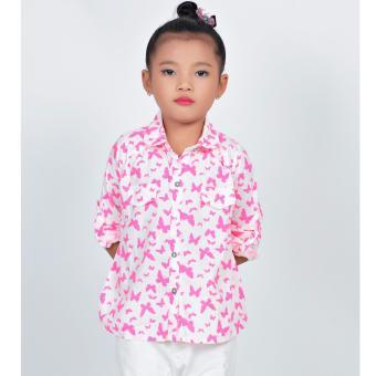 Áo sơ mi bướm hồng nhỏ bé gái Somy Kids