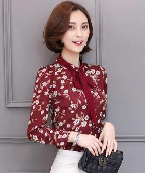 Áo Sơ Mi Hoa Tygon Nền Đỏ Cột Nơ (M,L,XL)- H975 ( Đỏ) Bui Nguyen