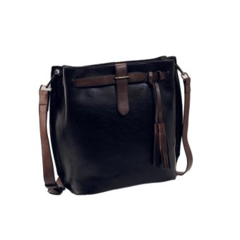 Women Messenger Tassel Bucket Vintage Retro Big Simple Shoulder Crossbody Bag - intl
