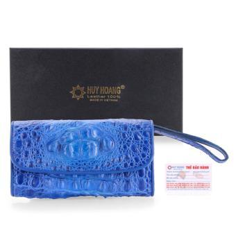 HL3292 - Ví nữ da cá sấu Huy Hoàng 3 gấp nguyên con màu xanh dương