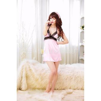 Đầm ngủ yếm thun mát phối ren ngực Chodeal24h (hồng)