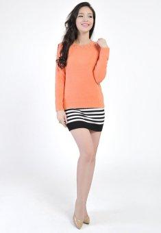 Áo len nữ đính hạt vai zắc lăng HQLens (cam)