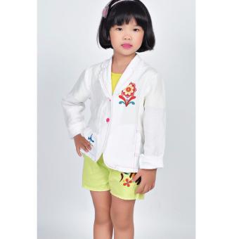 Áo khoác Linen bé gái Somy Kids màu trắng