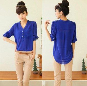 1PC Women Spring Summer V-Neck Chiffon Long Sleeve Casual Shirt Blouse - intl
