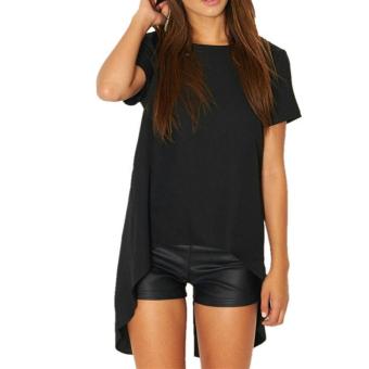 Zanzea Women Casual Split Backless Short Sleeve Round Neck T-Shirt Loose Irregular Hem Top Blouse Black - Intl