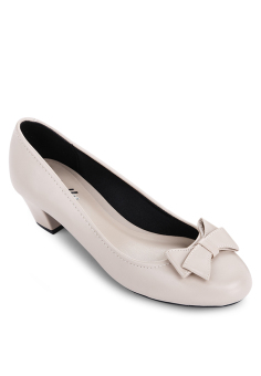 Giày Bít Tròn Nơ Bướm Gót Thô 3cm (Kem)