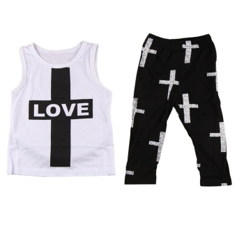 Sleeveless Cross Printing Vest Tank Tops+Print Pants Sports Outfit 100 - intl
