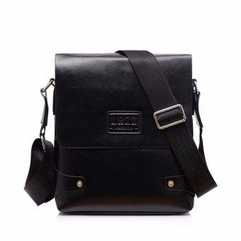 Leather Briefcase Casual Business Messenger Crossbody Handbag Black - Intl