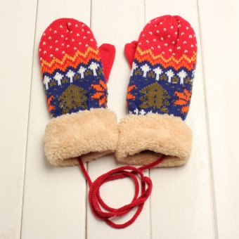 Lady Women Girl Winter Thicking Mittens Knitted Wrist Gloves Warm New Year Gift Red - intl