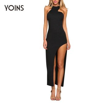 YOINS 2016 Women Polyester Asymmetric Hem Dress Plus Size Solid Sleeveless Irregular Slim Casual Ladies Sexy Clubwear Vestidos - intl