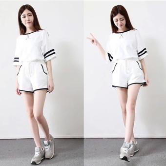 Woman Cotton Loose Contrast Color Shorts Leisure Suit (White) - intl