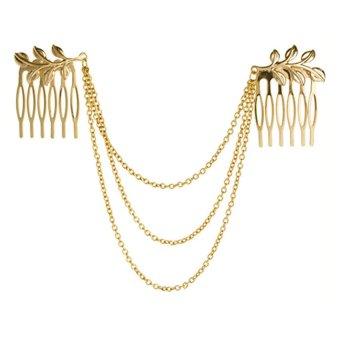 Bluelans Women's Tone Leaf Hair Cuff Chain Comb Headband (Gold) (Intl)