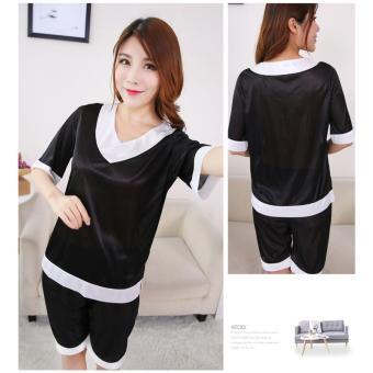 Đồ bộ mặc ngủ phối viền màu (đen) - DN043B