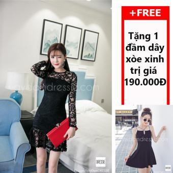 Đầm Body Đuôi Cá Ren DRESSIE - L013A1 (Đen) + Tặng Đầm Dây Xòe