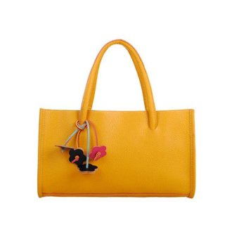 Fashion girls handbags leather shoulder bag candy color flowers tote Yellow - intl